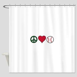 Peace Heart Baseball Shower Curtain