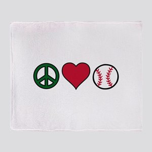 Peace Heart Baseball Throw Blanket