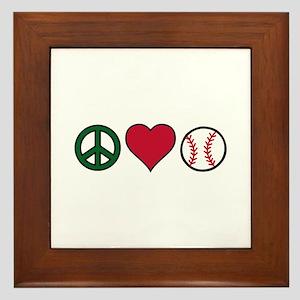 Peace Heart Baseball Framed Tile