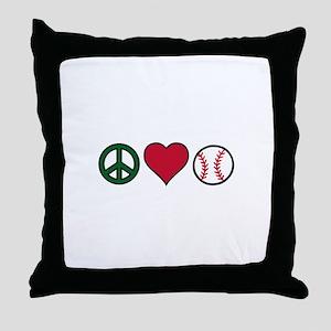 Peace Heart Baseball Throw Pillow