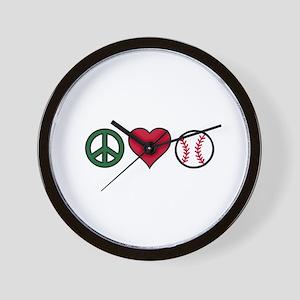 Peace Heart Baseball Wall Clock