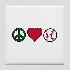 Peace Heart Baseball Tile Coaster