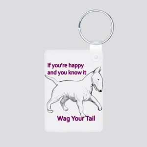 bull terrier wag your tail Aluminum Photo Keychain