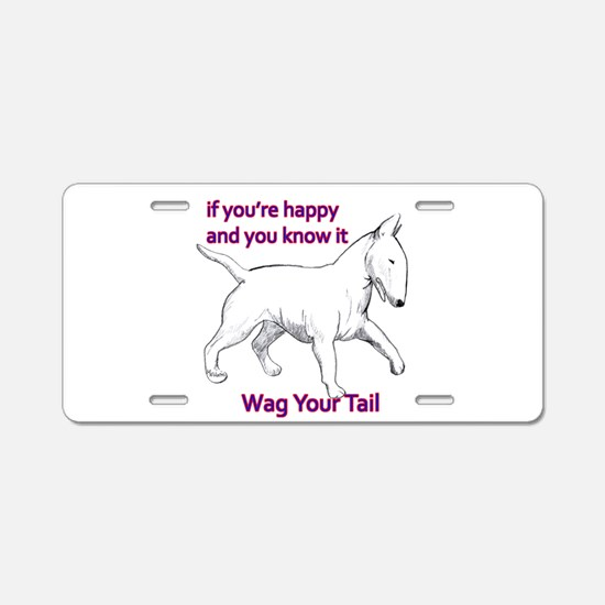 bull terrier wag your tail Aluminum License Plate