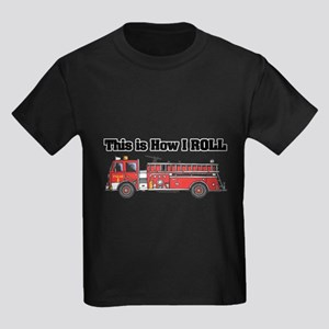 How I Roll (Fire Engine/Truck) Kids Dark T-Shirt