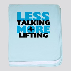Less Talking More Lifting baby blanket