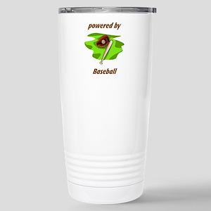 Powered By Baseball Stainless Steel Travel Mug