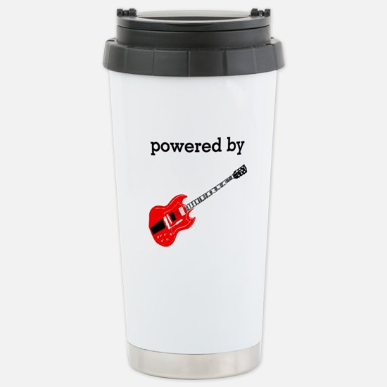 Powered By Guitar Stainless Steel Travel Mug