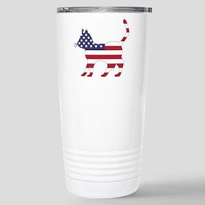 US Flag Cat Icon Stainless Steel Travel Mug