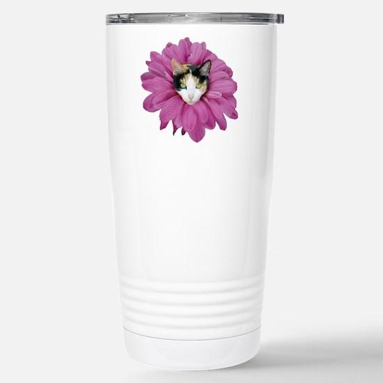 Calico Cat Flower Stainless Steel Travel Mug