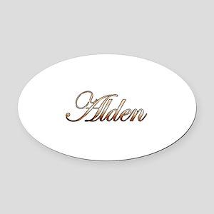 Gold Alden Oval Car Magnet