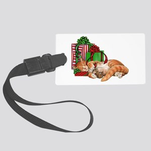 Cute Cat, Mouse And Christmas Large Luggage Tag