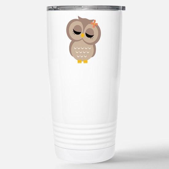 Single Girl Owl Stainless Steel Travel Mug