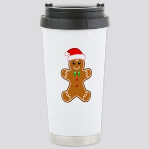 Gingerbread Man with Santa Hat Stainless Steel Tra
