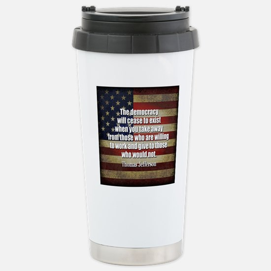 Jefferson Quote Democracy Stainless Steel Travel M