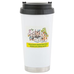 Library Cat Stainless Steel Travel Mug