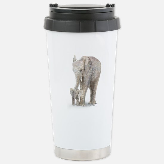 mother and baby elephant Stainless Steel Travel Mu