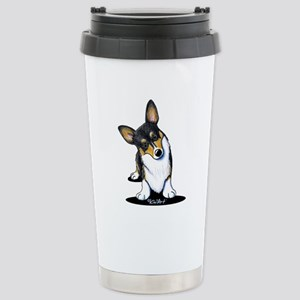 KiniArt Tricolor Corgi Stainless Steel Travel Mug