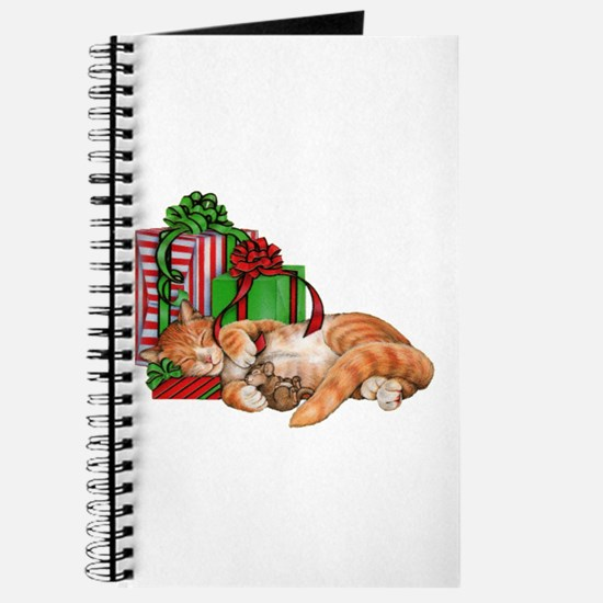 Cute Cat, Mouse And Christmas Presents Journal