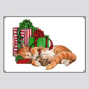 Cute Cat, Mouse and Christmas Presents Banner