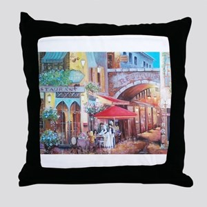 rainy day cafe Throw Pillow
