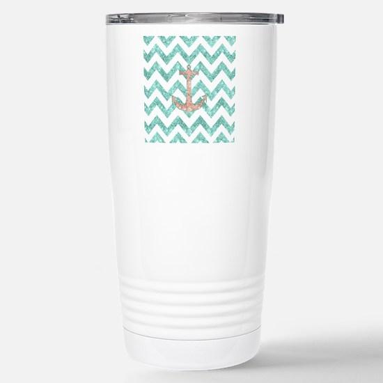Coral Glitter Nautical  Stainless Steel Travel Mug