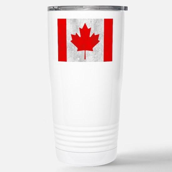 Vintage Canada Flag Stainless Steel Travel Mug