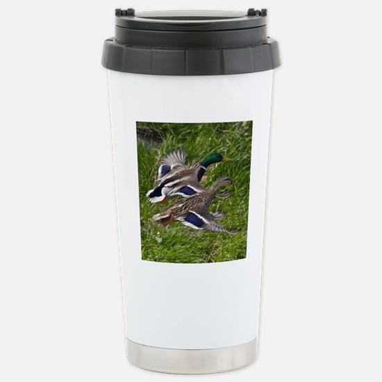 (15) mallards flying Stainless Steel Travel Mug