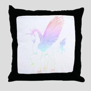 Pastel Winged Unicorn Throw Pillow