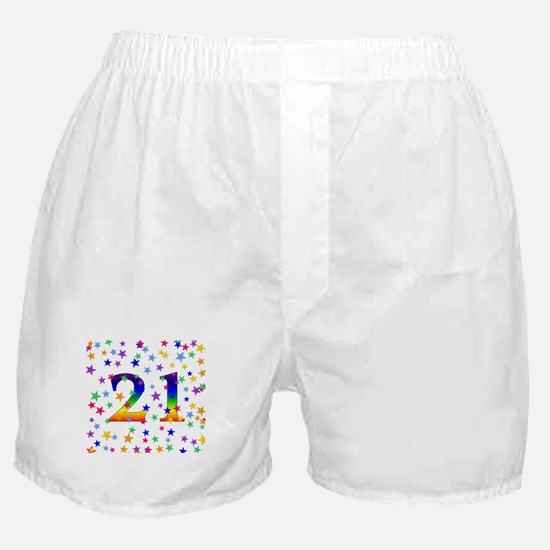 Rainbow Stars 21st Birthday Boxer Shorts