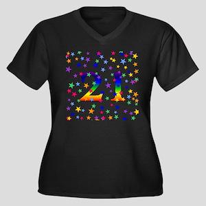Rainbow Stars 21st Birthday Women's Plus Size V-Ne