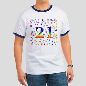 Rainbow Stars 21st Birthday Ringer T