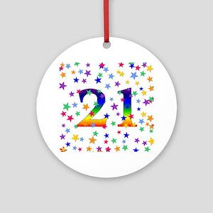 Rainbow Stars 21st Birthday Ornament (Round)