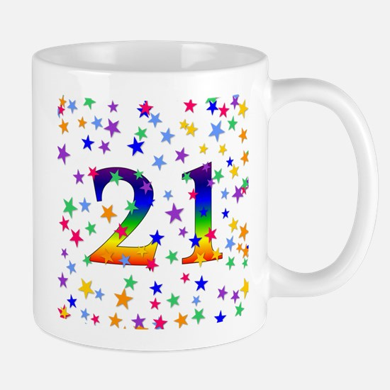 Rainbow Stars 21st Birthday Mug