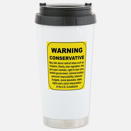 WARNING CONSERVATIVE Stainless Steel Travel Mug