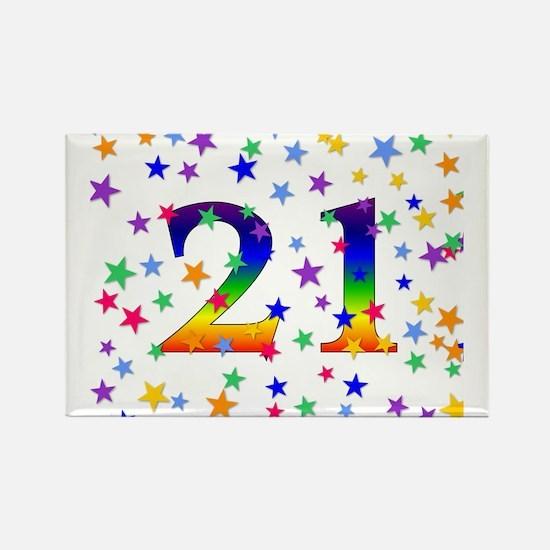 Rainbow Stars 21st Birthday Rectangle Magnet