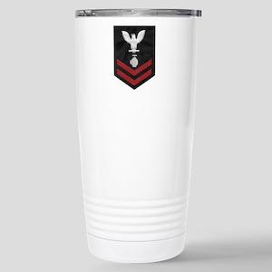 Navy-Rank-UT2-Embroider Stainless Steel Travel Mug