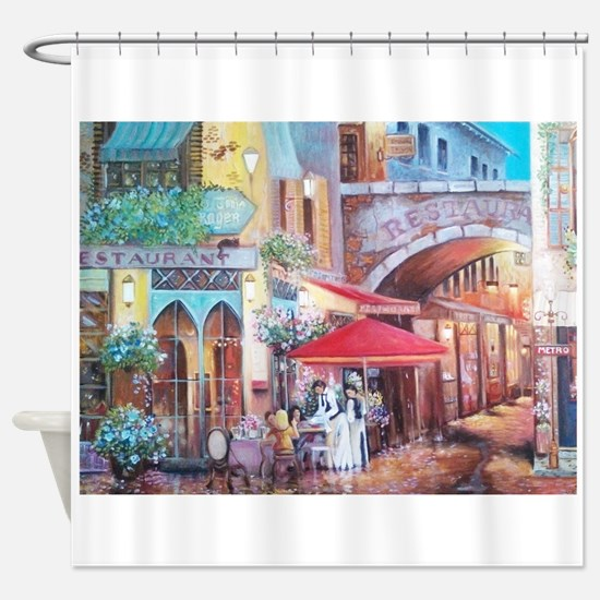 Rainy Day Cafe Shower Curtain
