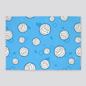 Cute Volleyball Pattern Blue 5'x7'Area Rug