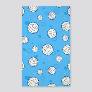 Cute Volleyball Pattern Blue 3'x5' Area Rug