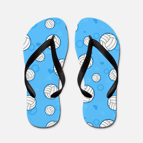 Cute Volleyball Pattern Blue Flip Flops
