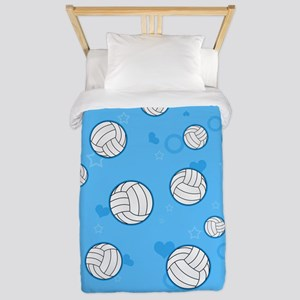 Cute Volleyball Pattern Blue Twin Duvet
