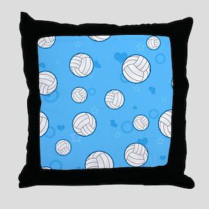 Cute Volleyball Pattern Blue Throw Pillow
