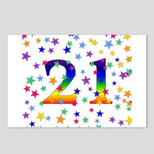 Rainbow Stars 21st Birthday Postcards (Package of