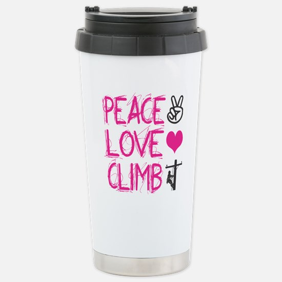 peace love climb pink Stainless Steel Travel Mug