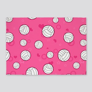 Cute Volleyball Pattern Pink 5'x7'Area Rug