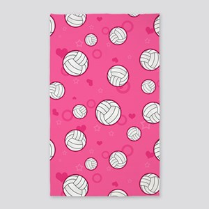 Cute Volleyball Pattern Pink 3'x5' Area Rug