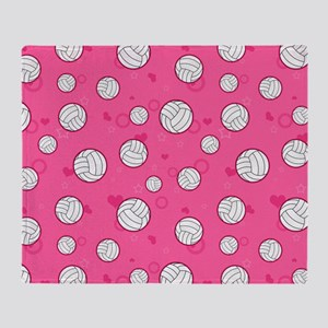 Cute Volleyball Pattern Pink Throw Blanket