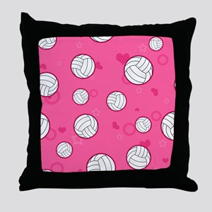 Cute Volleyball Pattern Pink Throw Pillow