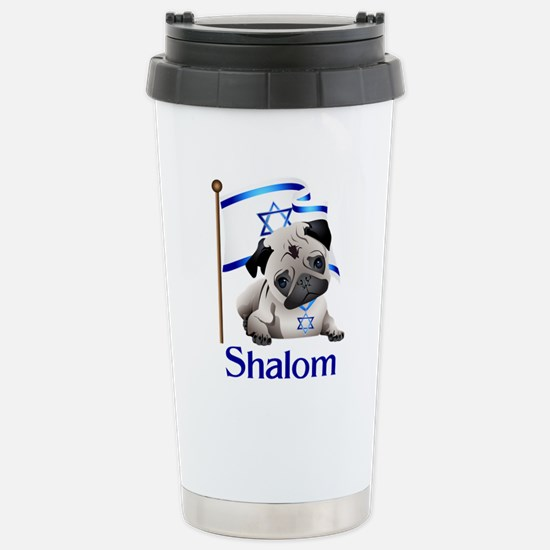 Shalom Pug with Israeli Flag Stainless Steel Trave